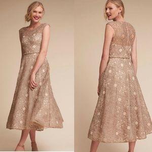 BHLDN Sara Emanuel Presley  Beige Geometric Dress